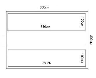 эскиз грядок для теплицы 3х8м